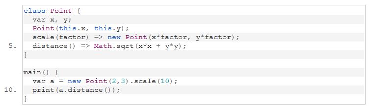 Exemple code Dart