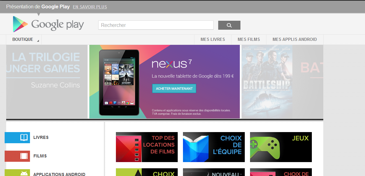 nexus7 in sale on google play france