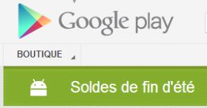 les soldes sur google play
