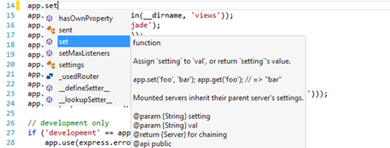 intellisense-visual-studio-node-js